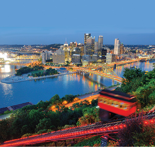 the city of Pittsburgh at night time