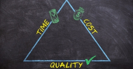 triangle representing the relationship between time, cost, and quality